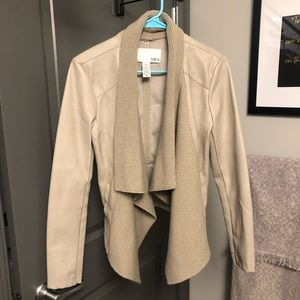 Lather jacket with knit front (tan, beige, nude)